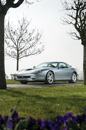 1997 Ferrari 550 Maranello phone wallpaper thumbnail.