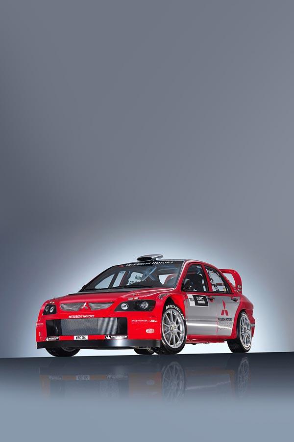 2004 Mitsubishi Lancer WRC04 phone wallpaper thumbnail.