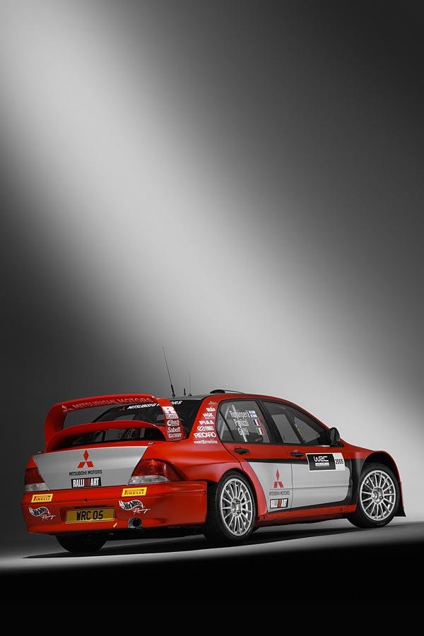 2005 Mitsubishi Lancer WRC05 phone wallpaper thumbnail.