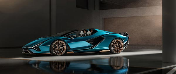 2021 Lamborghini Sian Roadster wide wallpaper thumbnail.