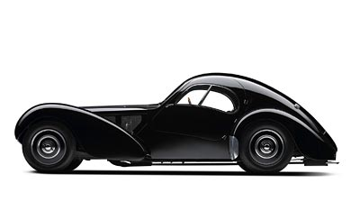 1936 Bugatti Type 57SC Atlantic Coupe wallpaper thumbnail.