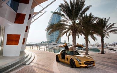 2010 Mercedes-Benz SLS AMG Desert Gold wallpaper thumbnail.