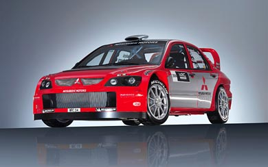 2004 Mitsubishi Lancer WRC04 wallpaper thumbnail.