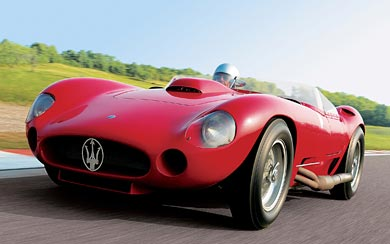 1956 Maserati 450S Prototype by Fantuzzi wallpaper thumbnail.